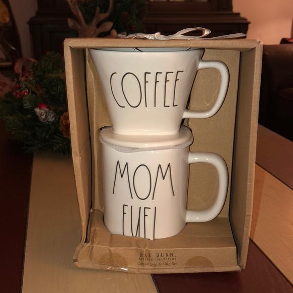 Rae Dunn COFFEE Coffee Drip & MOM FUEL Mug Set